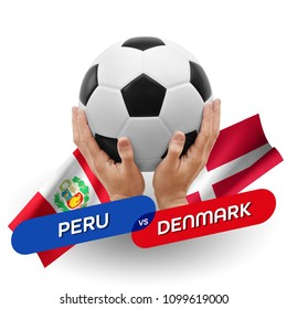 Soccer competition, national teams Peru vs Denmark