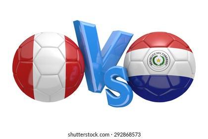 Soccer competition, national teams Peru vs Paraguay