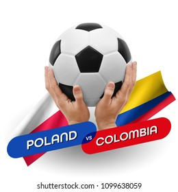 Soccer competition, national teams Poland vs Colombia