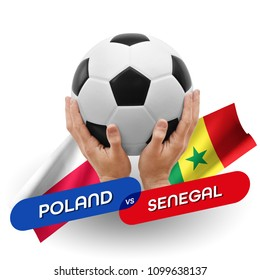 Soccer competition, national teams Poland vs Senegal