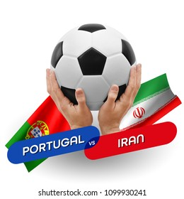 Soccer competition, national teams Portugal vs Iran
