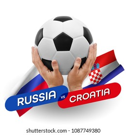 Soccer competition, national teams Russia vs Croatia