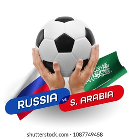 Soccer competition, national teams Russia vs Saudi Arabia