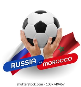 Soccer competition, national teams Russia vs Morocco