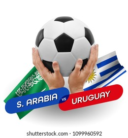 Soccer competition, national teams Saudi Arabia vs Uruguay