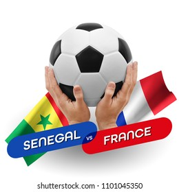 Soccer competition, national teams Senegal vs France