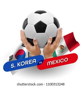 Soccer competition, national teams South Korea vs Mexico