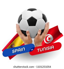 Soccer competition, national teams Spain vs Tunisia