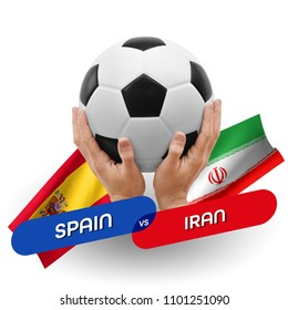 Soccer competition, national teams Spain vs Iran