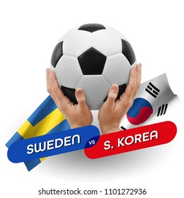 Soccer competition, national teams Sweden vs South Korea