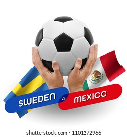 Soccer competition, national teams Sweden vs Mexico