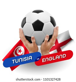 Soccer competition, national teams Tunisia vs England