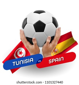 Soccer competition, national teams Tunisia vs Spain