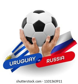 Soccer competition, national teams Uruguay vs Russia