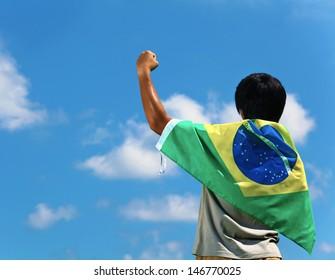 Soccer fans with Brazil flag