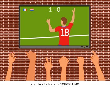 Soccer fans watch the match on TV. Hands with different gestures for victory. Raster version.