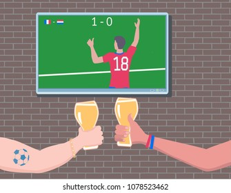 Soccer fans watchin match on TV. Football fans Hands toasting with Beer Glass. Raster version.