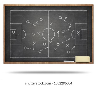 Soccer fied on blackboard