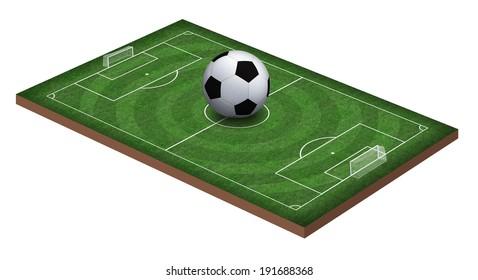 Soccer field and soccer ball, 3d