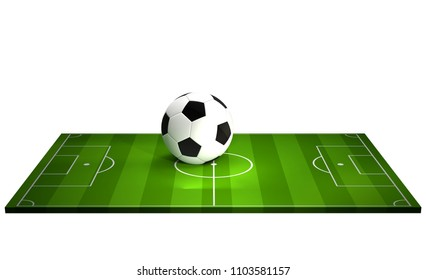 soccer field and ball 3d rendering