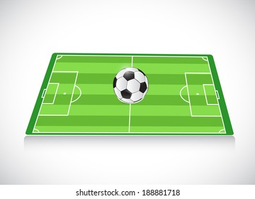 soccer field and ball. illustration design over a white background
