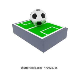 Soccer field with a big soccer ball, 3d rendering