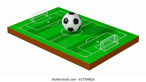 soccer field with a big ball, white background (3d render)