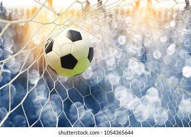 soccer field with blue bokeh