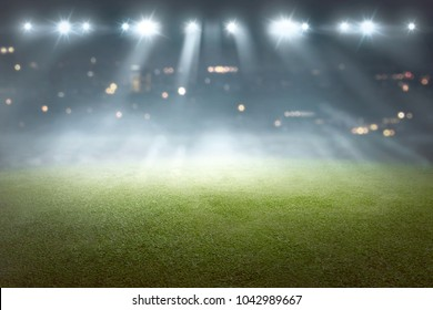 Soccer field with blur spotlight. Soccer stadium