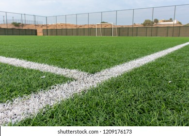 Soccer Field Centre line viewed from the ground toward the goal