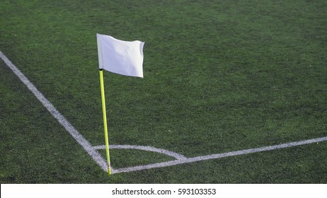 soccer field corner with white flag