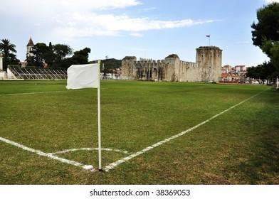 Soccer field in front of castle in Trogir Croatia