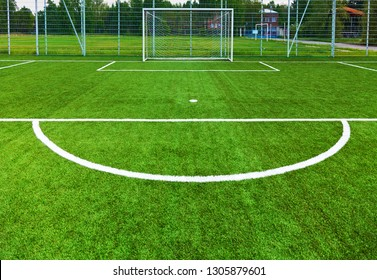 Soccer field and goalpost
