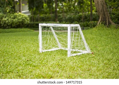 soccer field grass Goal at the garden with white lines on grass
