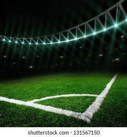 soccer field with the lights