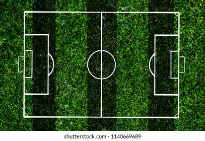 Soccer field lines on a grass