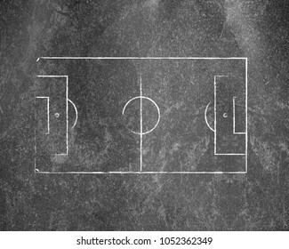 Soccer field lines on old paper