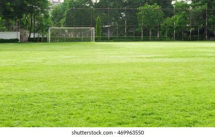 自然の草の庭とサッカーのゴールを持つサッカー場。