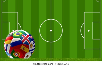 soccer field Russia soccer ball. Russian flag design ball. 3d rendering