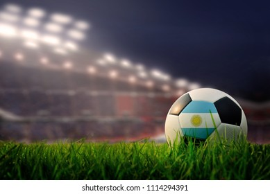soccer field and stadium. Flag of Argentina.