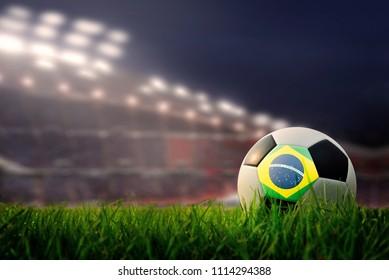 soccer field and stadium. Flag of Brazil.