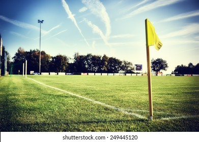 Soccer field at sunny summer day (football field)