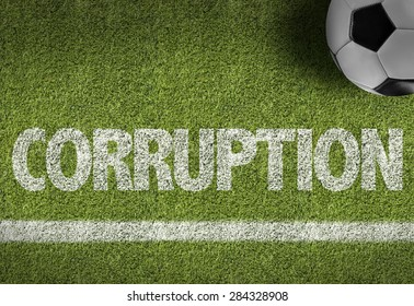 Soccer field with the text: Corruption