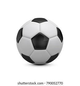 Soccer football against a plain white background. 3D Rendering