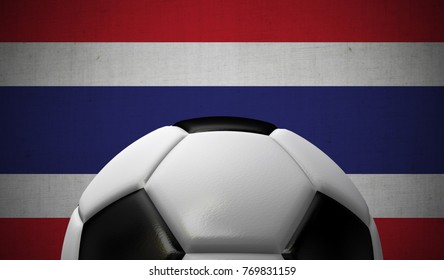 Soccer football against a Thailand flag background. 3D Rendering