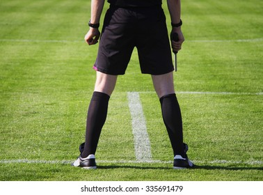 Soccer or football assistant referee during a game