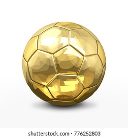soccer football ball 3d rendering in gold