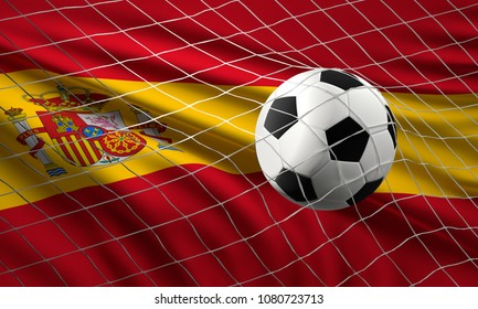 soccer football ball and flag of Spain with goal at soccer net 3d illustration