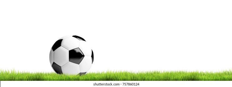 soccer football ball isolated and green grass meadow 3d rendering