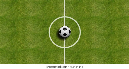 Soccer (football) ball on the center of the field. 3d illustration
